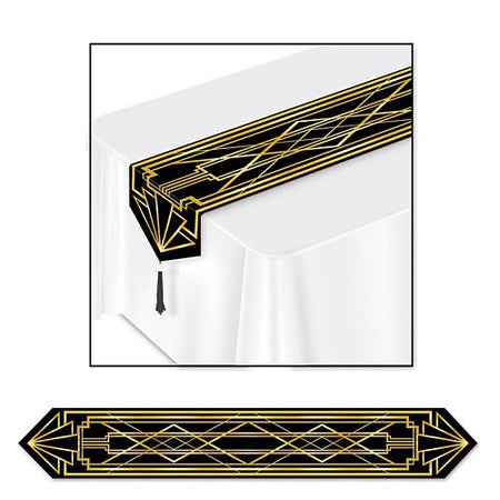 Gatsby Gold and Black Paper Table Runner - 1.83m
