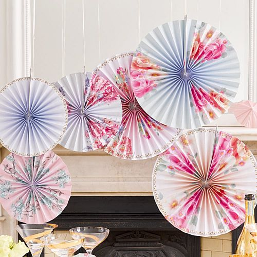 Truly Romantic Pinwheel Fan Decorations - Pack of 6