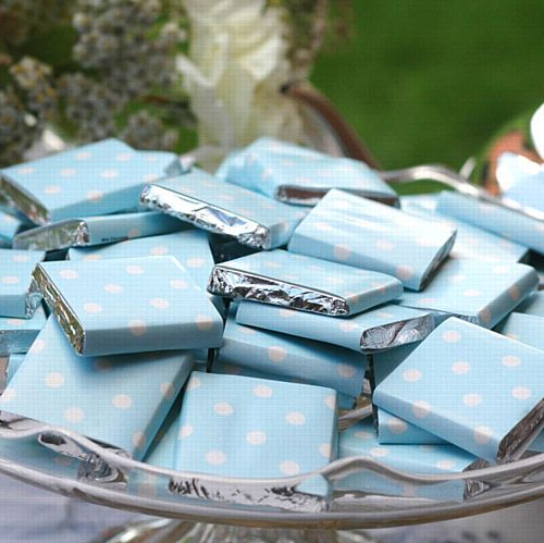 Light Blue Neapolitan Square Chocolates - 5g - Each