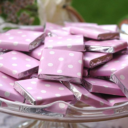 Pink Neapolitan Square Chocolates - 5g - Each