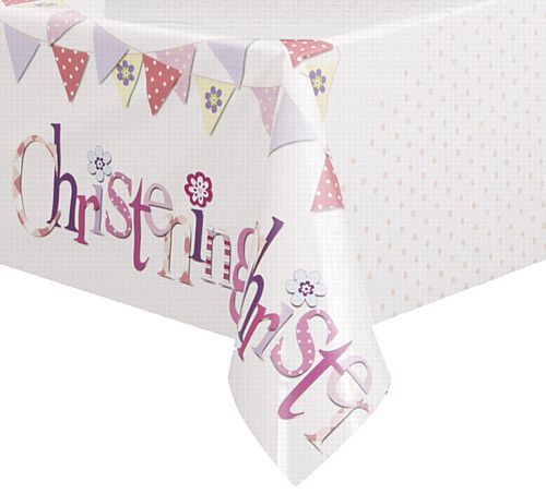 Pink Christening Plastic Tablecloth - 2m