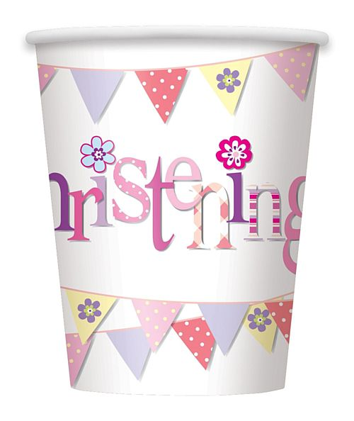 Pink Christening Paper Cups - 256ml - Pack of 8