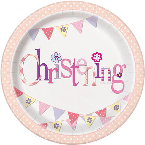 Pink Christening Plates - 23cm - Pack of 8