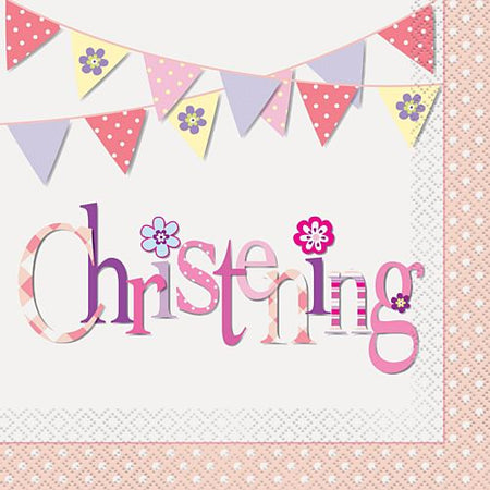 Pink Christening Napkins - Pack of 16