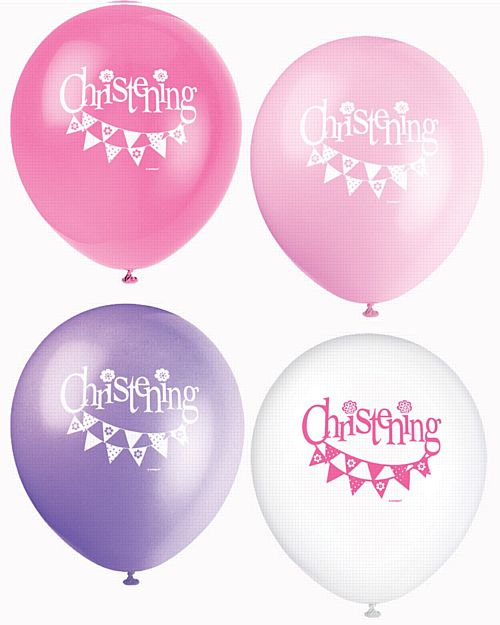 "Pink Christening Balloons - 12"" - Pack of 8"