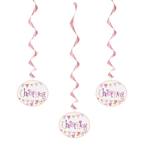 Pink Christening Hanging Decorations - 66cm - Pack of 3