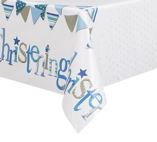 Blue Christening Plastic Tablecloth
