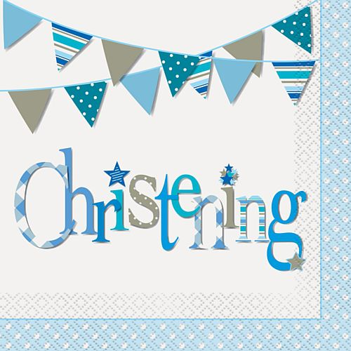 Blue Christening Napkins - Pack of 16