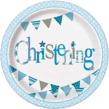 Blue Christening Plates - 23cm - Pack of 8