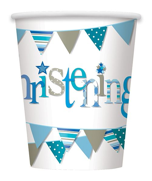 Blue Christening Paper Cups - 256ml - Pack of 8