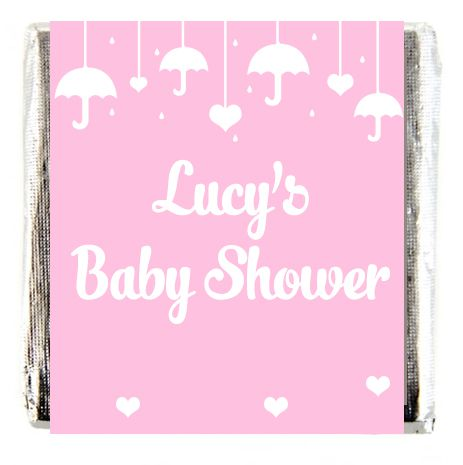 Personalised Chocolates- Pink Baby Shower- Pack 16