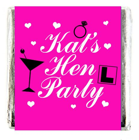 Personalised Chocolates- Pink Hen Party- Pack 16