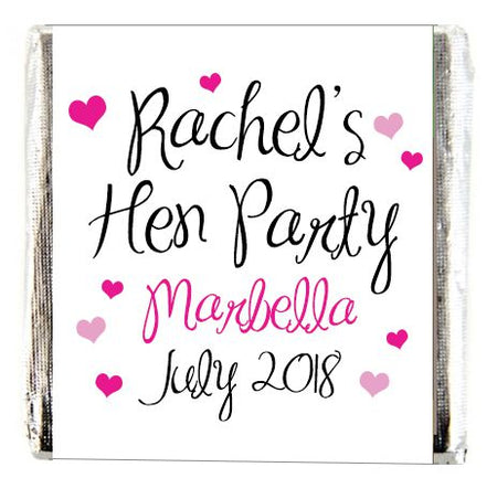 Personalised Chocolates- Hen Party White Design- Pack 16