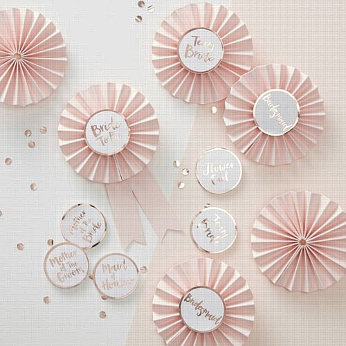 Pink & Rose Gold Hen Party Badges- Pack Of 6