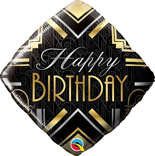 Happy Birthday Art Deco Diamond Balloon - 18""