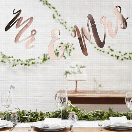 Mr & Mrs Rose Gold Bunting- Beautiful Botanics- 1.5m
