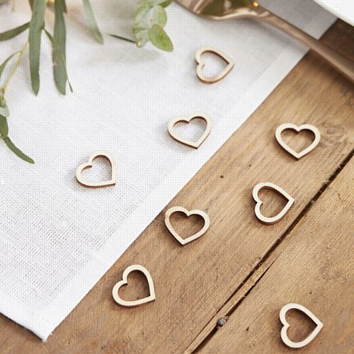 Wooden Heart Table Confetti- Pack Of 25