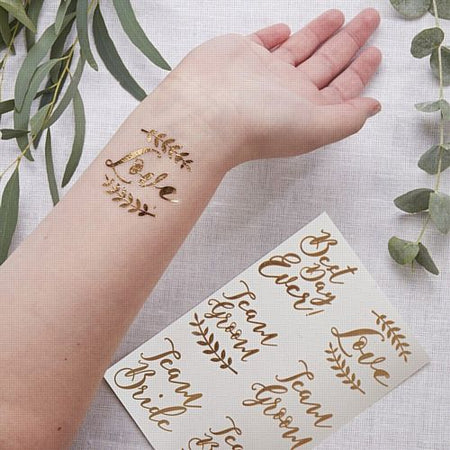 Rose Gold Wedding Tattoos- Pack Of 12