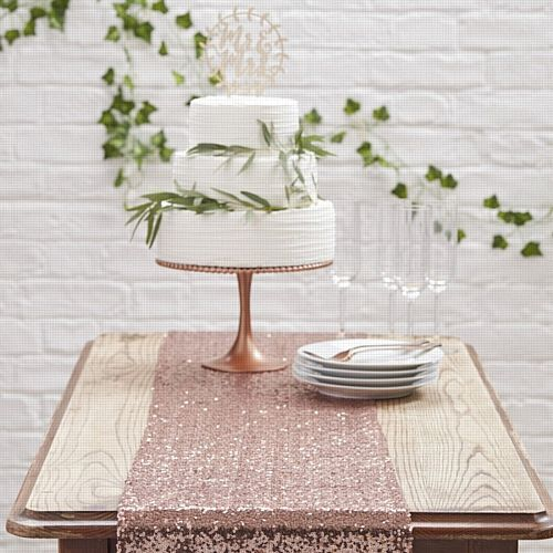 Rose Gold Sequinned Table Runner - 2.75m
