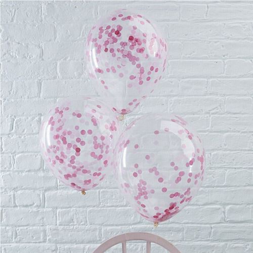 "Pink Confetti Filled Balloons - 12"" - Pack of 5"