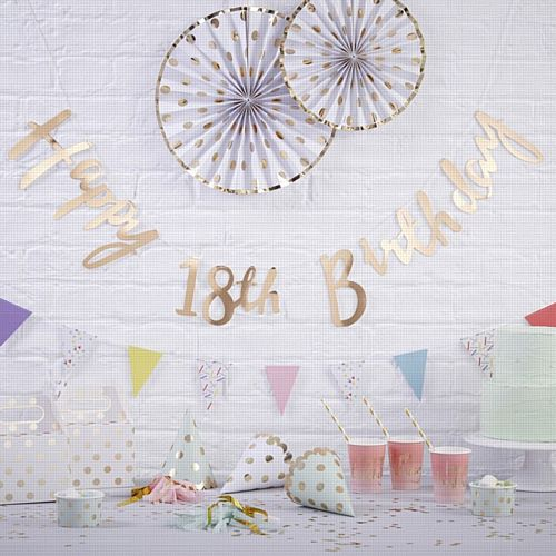 Gold Happy 18th Birthday Letter Banner - 1.5m
