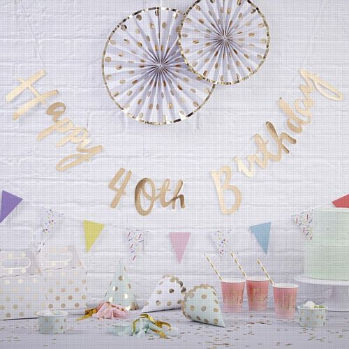 Gold Happy 40th Birthday Letter Banner - 1.5m