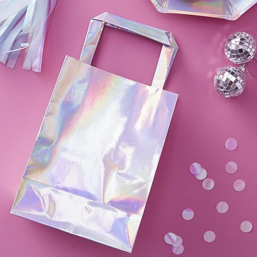 Iridescent Party Bags with Handle- Pack Of 5