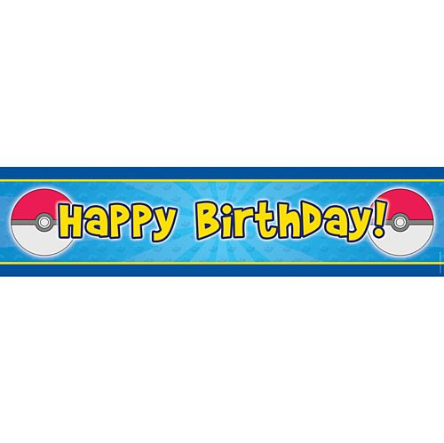 Catch Em All Happy Birthday Banner - 1.2m