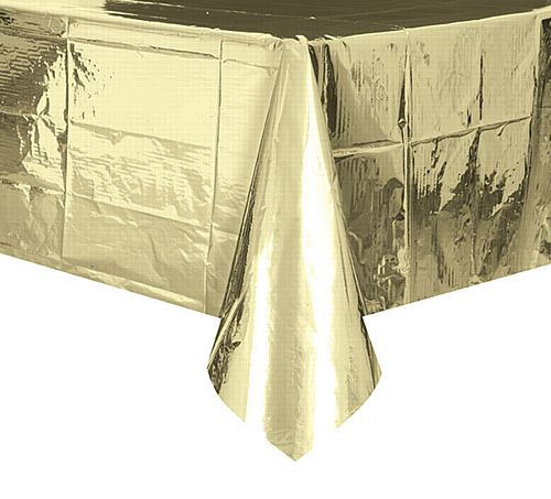 Gold Foil Plastic Tablecloth - 2.75m