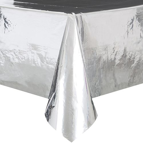 Silver Foil Plastic Tablecloth - 2.75m