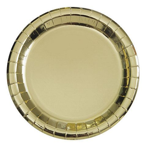 Gold Foil Plates - 23cm - Pack of 8