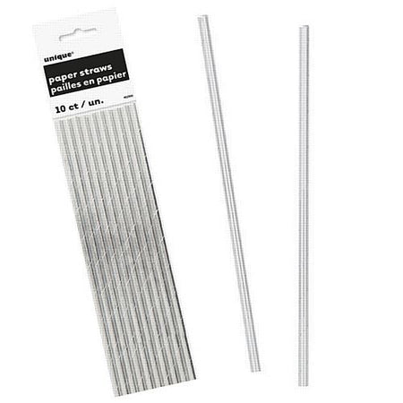 Silver Foil Paper Straws - Pack of 10