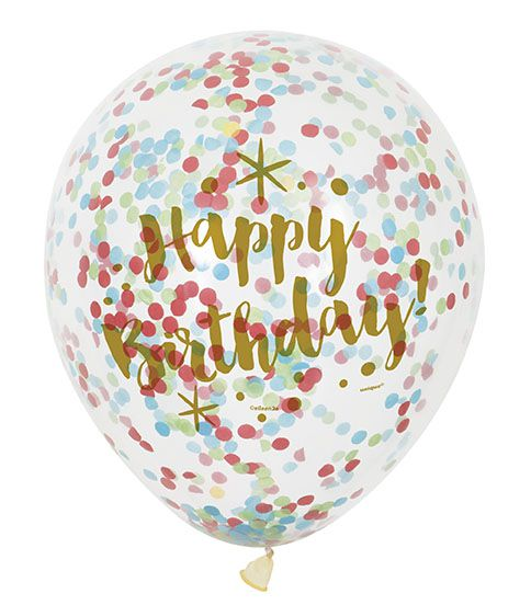 "Clear Latex Glitzy Birthday Balloons with Confetti - 12"" - Pack of 6"