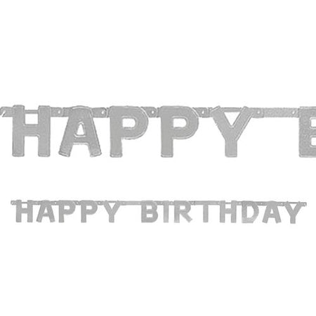 Silver Happy Birthday Letter Banner