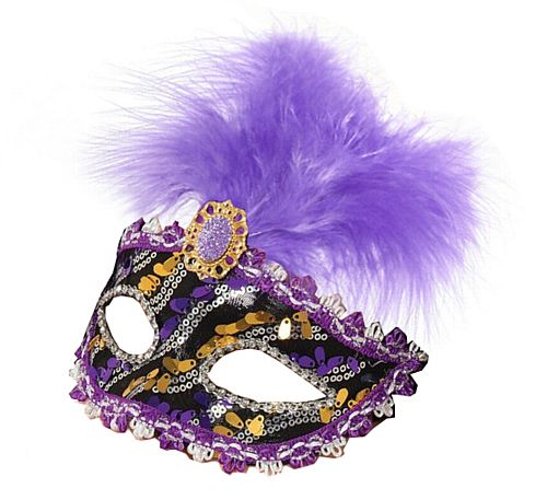Purple, Black and Gold Feather Eyemask With Stone
