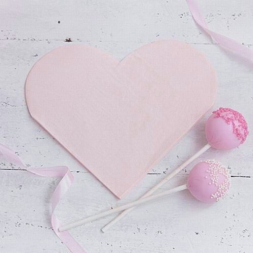 Pink Heart Shaped Napkins- Pack of 16