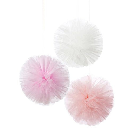 Pink Tulle Pom Poms- Pack Of 3