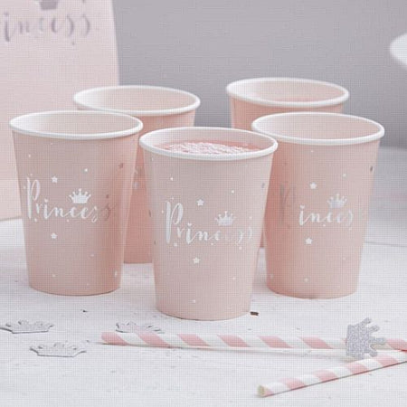 Pink Foiled Princess Paper Cups - 266ml - Pack of 8