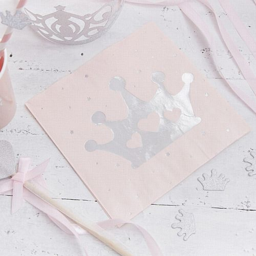 Pink Foiled Tiara Paper Napkins- Pack of 16