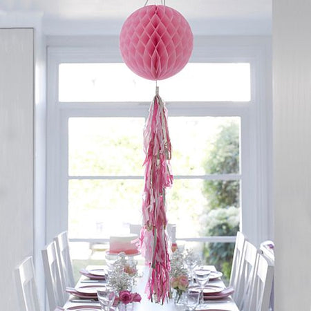 Pink Honeycomb Decoration With Tassel- 30cm