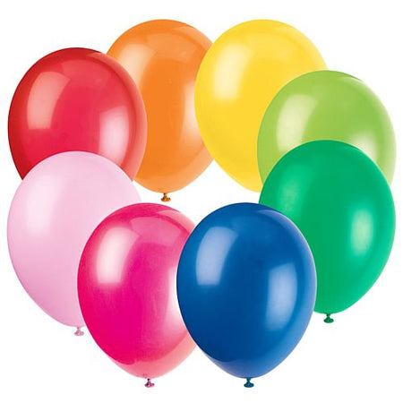 Assorted Colour Latex Balloons - 10
