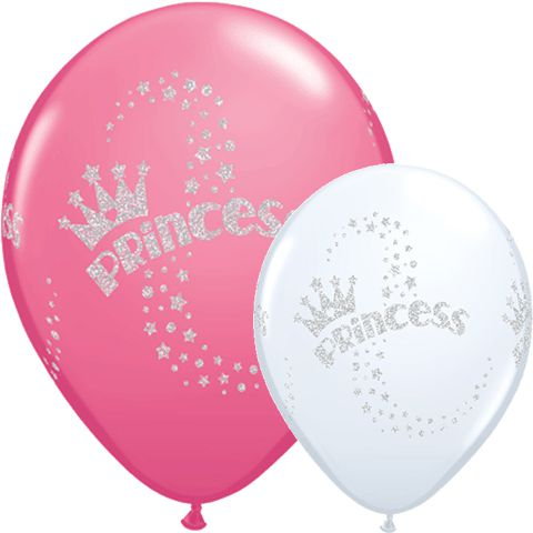 "Deluxe Glitter Princess Latex Balloons- 11"" - Pack of 10"