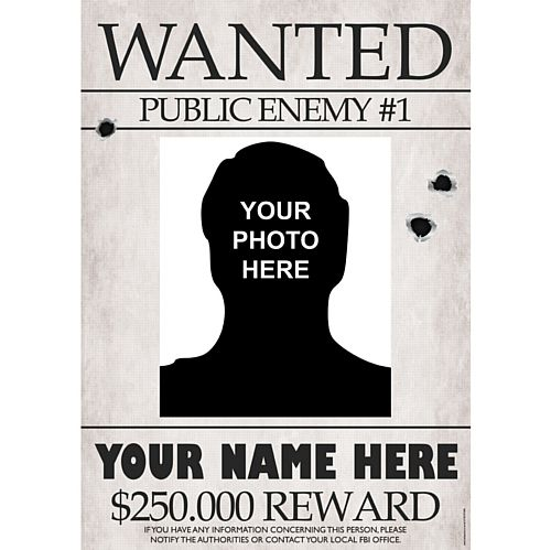 Gangster Wanted Sign Personalised Poster With Photo - A3