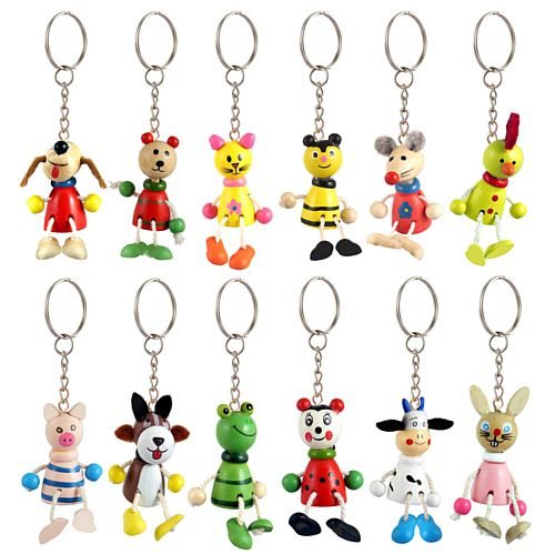 Wooden Animal Keyring - Assorted Designs - 5cm