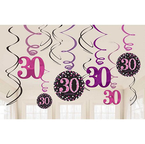 Pink Celebration 30th Hanging Swirl Decorations - 45.7cm - Pack of 12