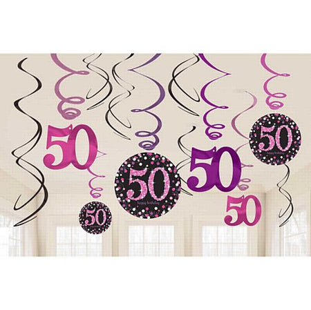Pink Celebration 50th Hanging Swirl Decorations - 45.7cm - Pack of 12