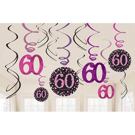 Pink Celebration 60th Hanging Swirl Decorations - Pack of 12