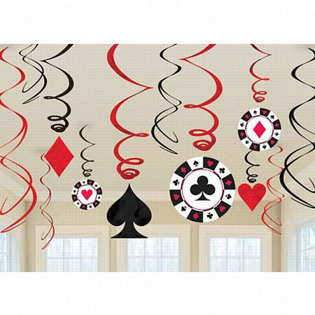Casino Hanging Swirl Decorations - 60cm - Pack of 12
