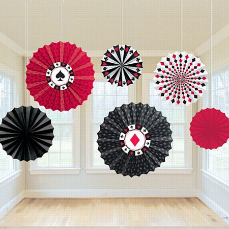 Casino Paper Fan Decorations - 30.5cm to 40.6cm - Pack of 6