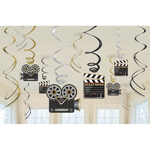 Hollywood Hanging Swirl Decorations - Pack of 12